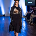 Olivia May fashion catwalk model Cerys Wrigley-Moss at Oxford Fashion Week