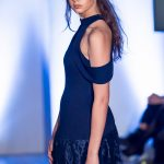 Omar Mansoor fashion catwalk model Cerys Wrigley-Moss at Oxford Fashion Week