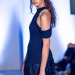Omar Mansoor fashion catwalk model Cerys Wrigley-Moss at Oxford Fashion Week