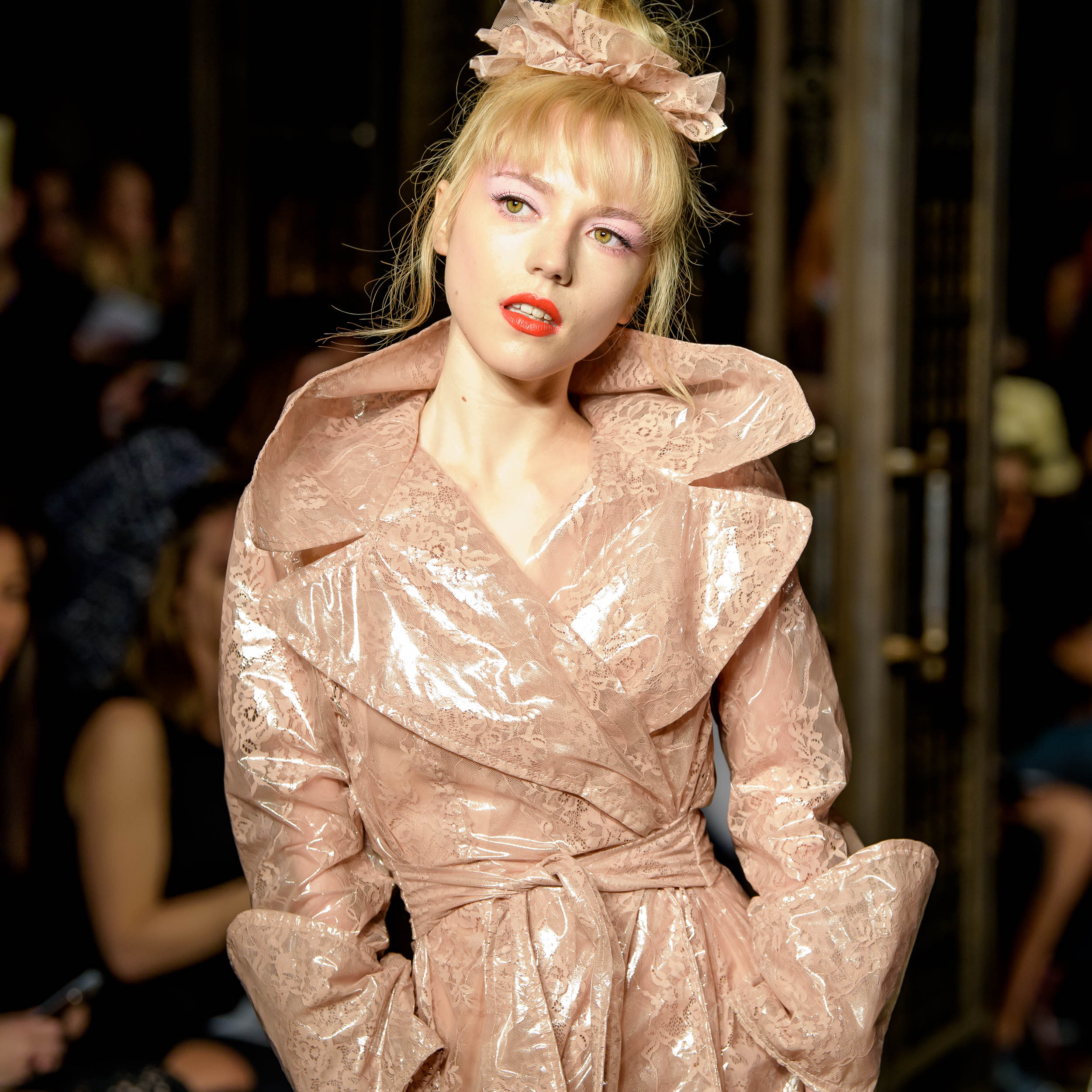 London Fashion Week S/S18 fashion designer Pam Hogg modeled by Ellie Raé Winstone photo Barry Green