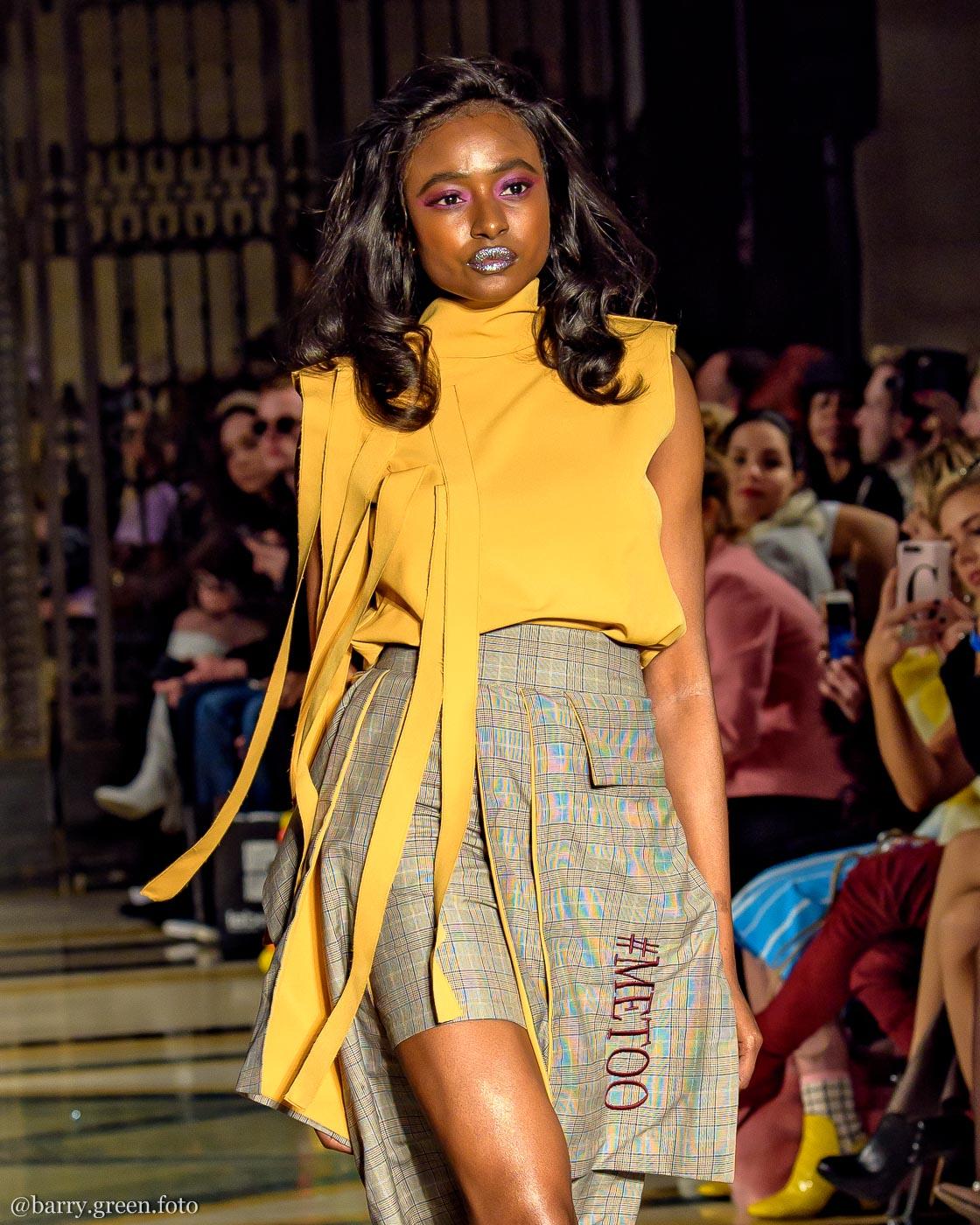 London Fashion Week AW18 catwalk collection by designer DeebyDalia from Dubai Design & Fashion Council DDFC